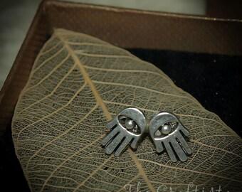 Hamsa Stud Earrings  -- 12 mm STUD -- Hamsa Evil Eye Earrings -- Hamsa Jewelry -- Hamsa Studs