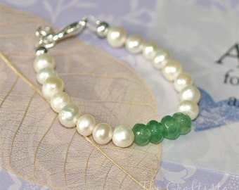 Baby Bracelet  -- Birthstone -- Emerald and Authentic Freshwater Pearls -- Dedication, First Communion  -- infant, toddler, girls