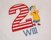 Personalized Caillou Birthday shirt or onesie with applique number and child's name