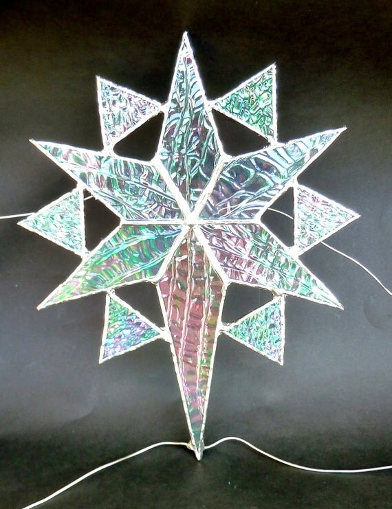 Stained glass star christmas tree topper