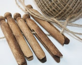 Vintage clothes peg and traditional jute clothes line - decorative, altered art, assemblage