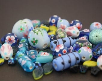 Beads, assorted styles and make, blue hues, new 50 pcs