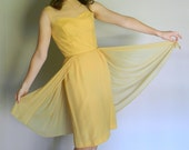 Yellow Cocktail Dress Silk / Vintage 50's 60's Mad Men / Daffodil Dame dress