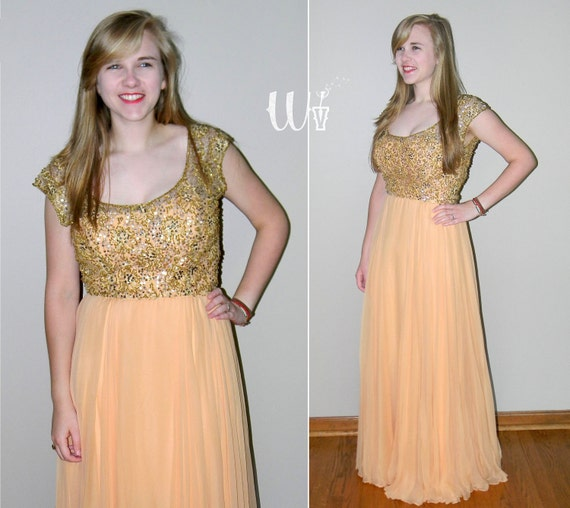 1960's Peach Evening Gown / Malcolm Starr Silk Beaded Formal Dress Peach Gold