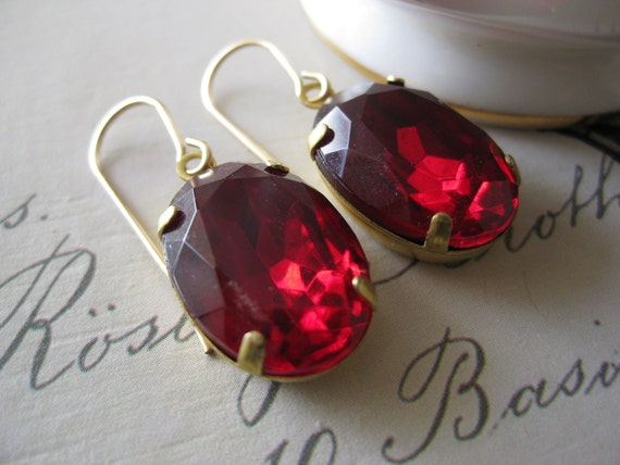 Swarovski Estate Style Earrings - Ruby Red oval Vintage crystals dangling from 14k gold filled hooks