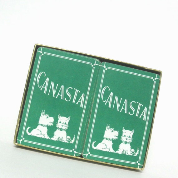 vintage 1950s Canasta Playing Cards Double Deck Scottie Dog Design