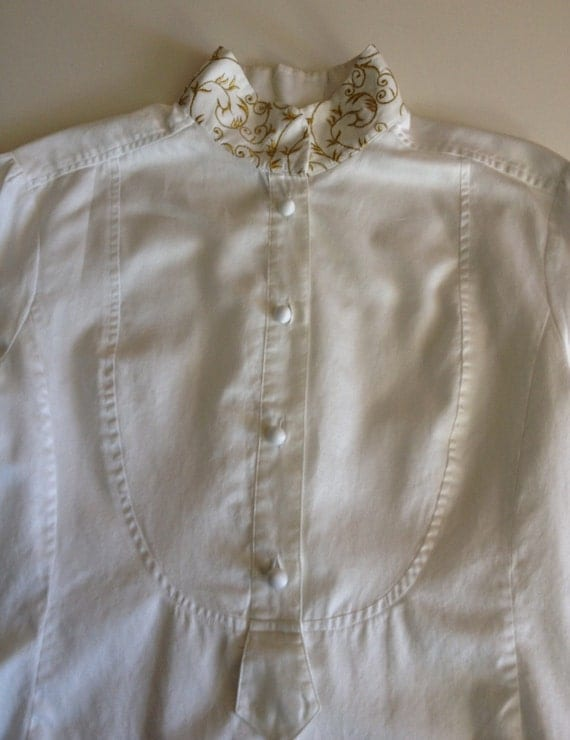 Gold Embroidered Mandarin Collar on an 80s Blouse