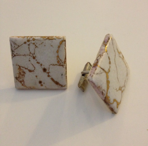 Vintage Cufflinks Made From Ceramic Tile
