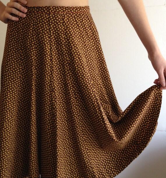 Cotton Calico 1970s Skirt