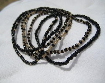 Black and gold seed bead stretch bracelet six bracelet set