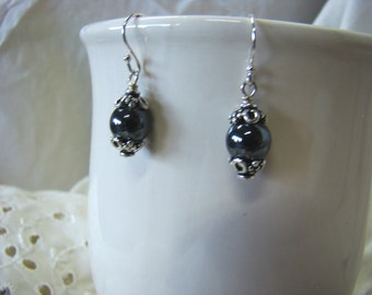 Sterling Silver and Hematite Drop Earrings