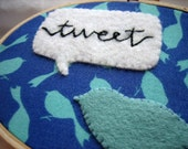 Embroidery Hoop Art - Tweet Bird twitter
