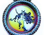 Unicorn art pendant with beaded bezel