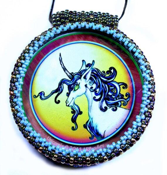 Unicorn art pendant with beaded bezel