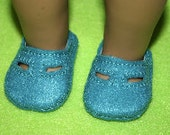 """Doll Shoes fit 18"""" like American Girl Dolls,Embroidered Felt turquoise English Sandals"""