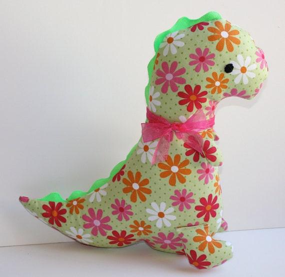 Girly Green and Pink Daisy Dinosaur Softie Plush