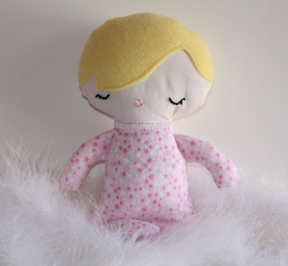 Blonde Baby Girl Doll Pink Stars flannel pjs with blanket Baby's First Doll Shower gift