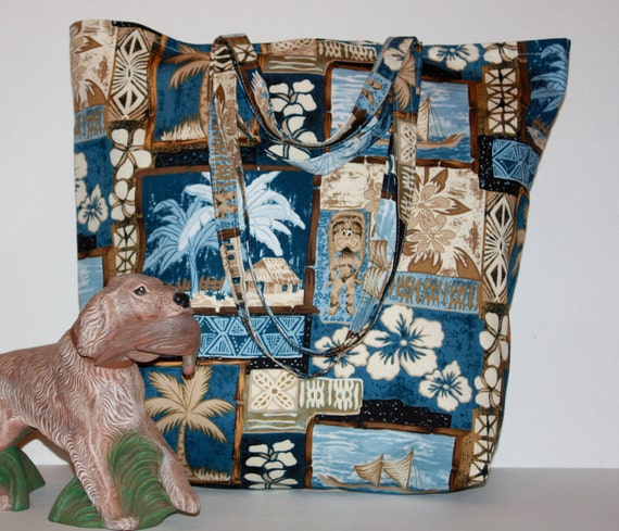 SALE   Tropical Blue Tote Bag cruise, market, shopping, travel, grocery, diaper, lined, double handles, inside pockets