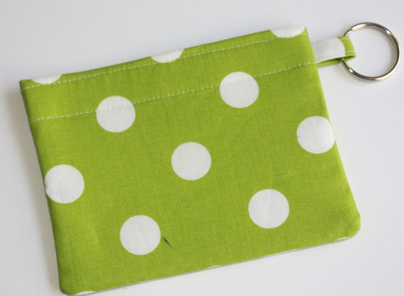 Lime Green White Dots pouch wallet card holder keyring Christmas Stocking Stuffer
