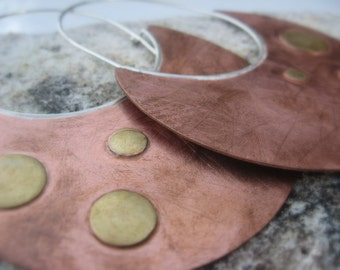 Invoking the Ancient Ones, Tribal style Copper, Brass and Sterling Silver disc earrings