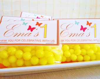 Favor Bag Labels: Sunflowers & Butterflies by Cakewalk