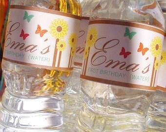 Bottle Labels: Sunflowers & Butterflies by Cakewalk