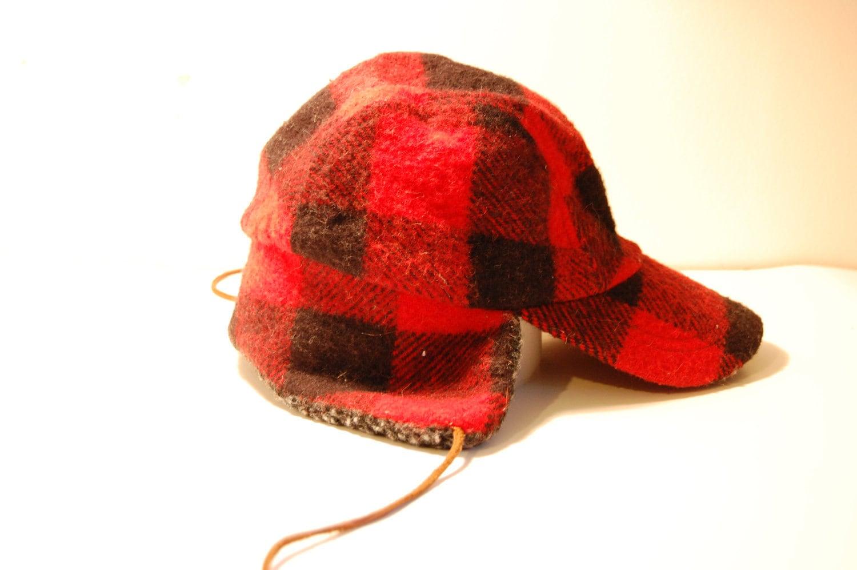 Red Wool Vintage Hunting Cap Lake of the Isles Hunting Cap