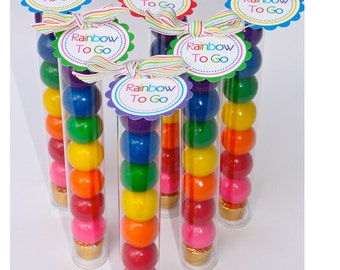 8 Inch, Inset Lid, Free Tag Rainbow To Go/Plastic Candy Tubes- Set of 20