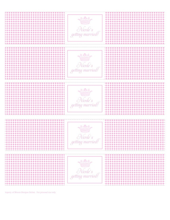 Printable Water Bottle Labels Princess Party by Bloom