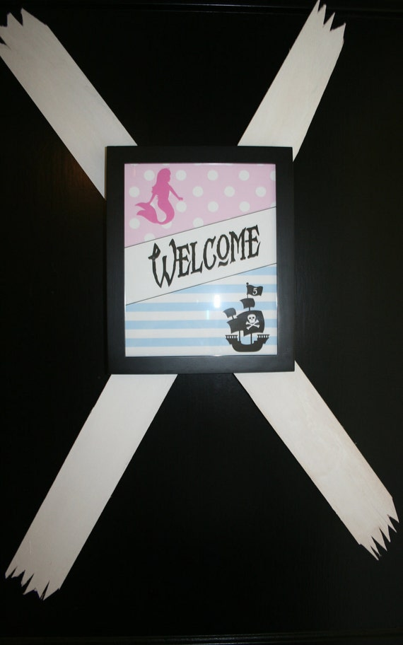 Printable Welcome Sign Pirates Vs Mermaids By Bloom