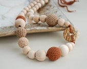Cappuccino with Cinnamon. Brown natural beige crochet necklace, ready to ship