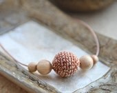 Cappuccino. Beige crochet necklace/ pendant whit wooden beads and leather lace, ready to ship.