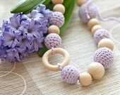 Crochet wooden beads nursing mommy necklace in lavender. Teething necklace for her