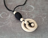 Black pendant necklace for her. Teething rings nursing necklace with wooden olive, black teething toy.
