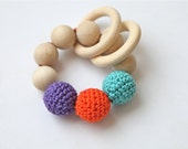 Teething toy with crochet mint blue/ tiffany blue, orange and violet wooden beads and 2 wooden rings. Wooden rattle. Gift for baby and mum.