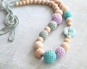 Teal green and Wisteria violet. Nursing crochet necklace with natural Jadeite/ Jade stone, ready to ship