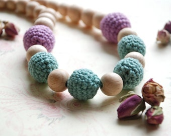 Old rose teething necklace. Crochet necklace for her.