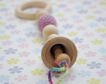 Teething toy rattle with crochet wooden bead. Lilac/old rose, ready to ship, last minute gift for baby