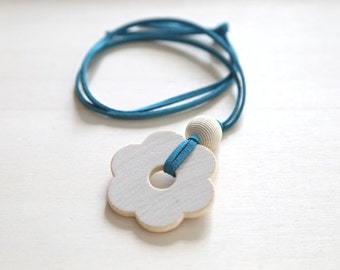 SALE 35%. Wooden flower pendant with the leather cord. Nursing ring toy necklace.