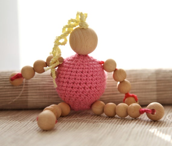 Toy with crochet wooden bead. Doll for toddler. Wooden rattle for baby. Gift for children.