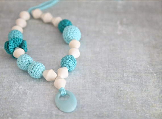 Mint, mint green/ jungle green and cyan crochet necklace whit natural stone, ready to ship.