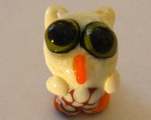 Ivory  and Amber Owl Figurine Bead - one of a kind handmade lampwork glass