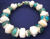 Transparent Aqua and Ivory Bracelet featuring unique handmade lampwork glass beads