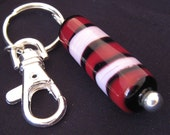 Large Red, Pink, and Black Barrel Bead Keychain featuring unique handmade lampwork glass