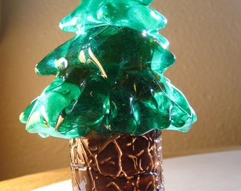 Evergreen - hand blown art glass figurine sculpture