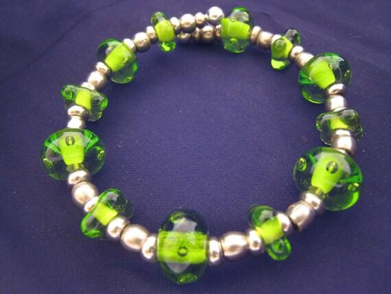 Transparent Green Bubble Bracelet featuring unique handmade lampwork glass beads
