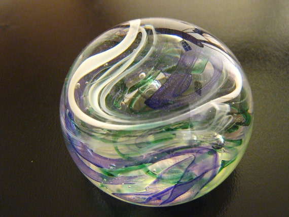 unique hand blown art glass paperweight - Ribbons of Spring