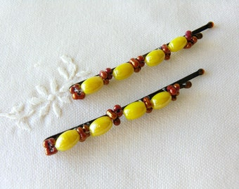 Yellow Bobby Pins Glass Bead Hair Pins Beaded Hair Accessories Hair Jewelry Barrette for Girls Brown Bobby Pins