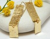 Rectangle earrings hammered gold long earrings rectangular earrings