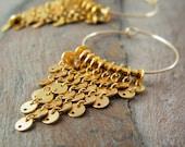 Gold Fringe earrings gold filled hoops earrings gold disc earrings